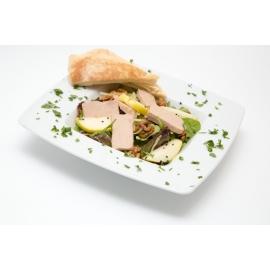 Natúr libamáj körtés-diós zöldsalátával, rozmaringos öntettel - libamáj recept